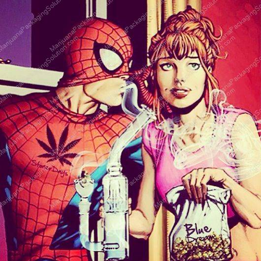 Marijuana Packaging Solution-Weed Art-Spiderman Getting High and Falling in Love