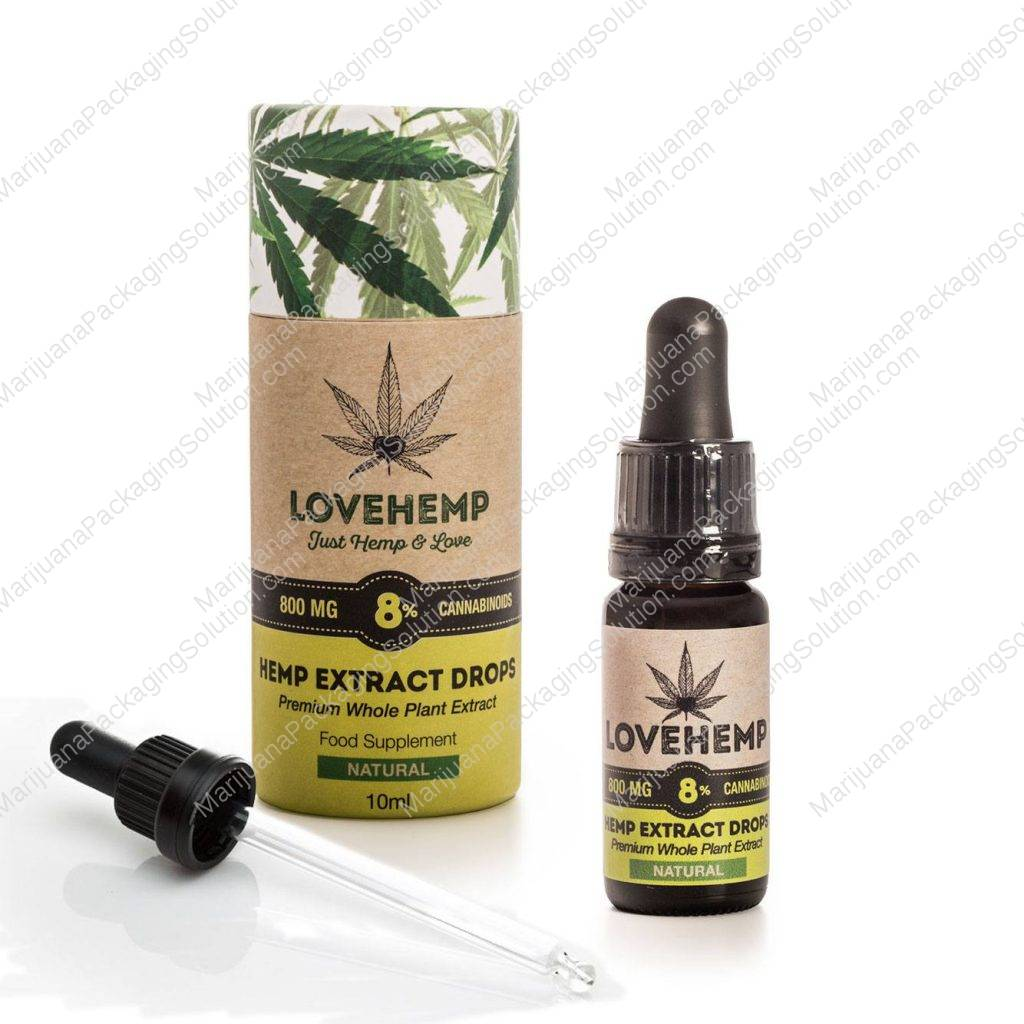 paper tube used to contain hemp oil bottle
