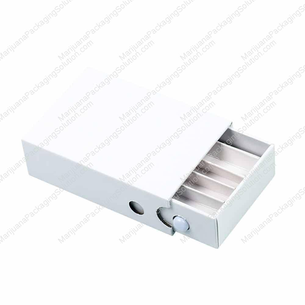 Child safe pre-roll box with paper divider