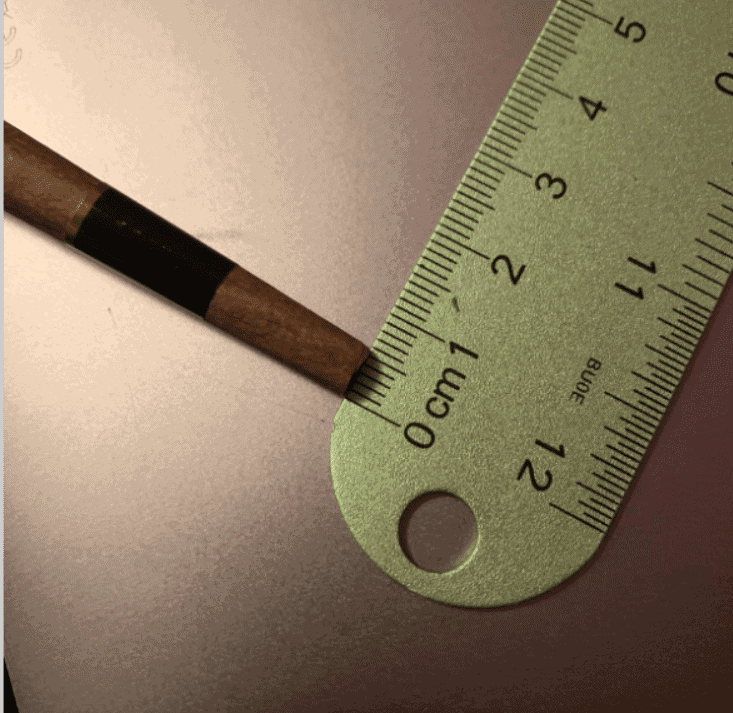 The diameter of the narrow end of a pre-rolled joint