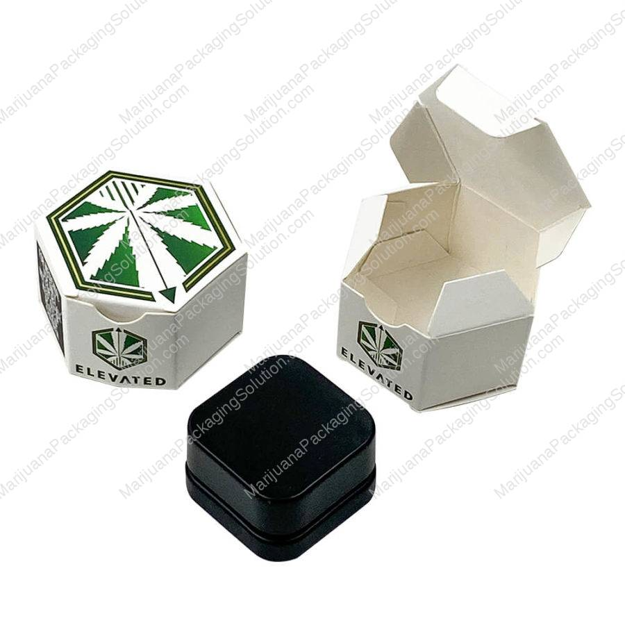 paper hexagon boxes for cannabis concentrates jars