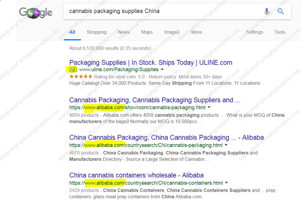 cannabis packaging supplies in China