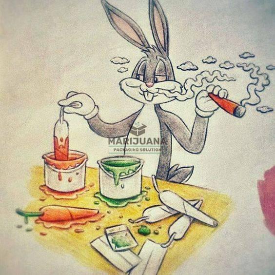 Marijuana Packaging Solution-Weed Art-Bunny Getting High