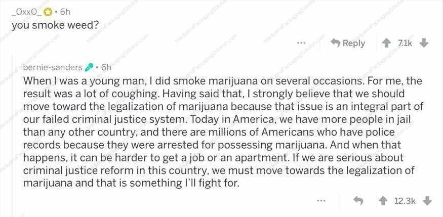 Senator Bernie Sanders supports marijuana legalization